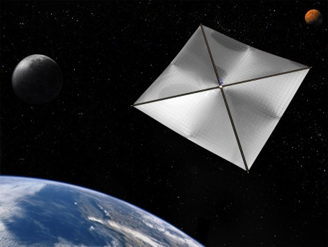 Artist's impression of a solar sail leaving Earth orbit. Is this the future of space travel? Yes and no.