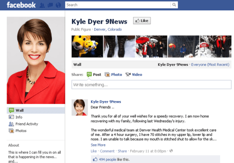 Image: Kyle Dyer via Facebook.com comments on her recovery after a dog bite on air