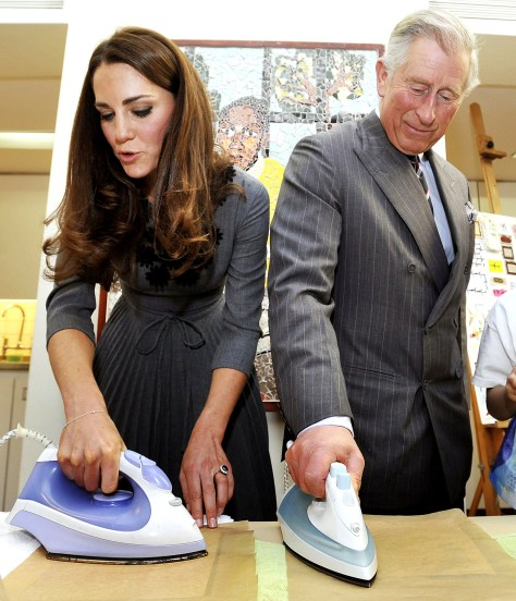 Image: Britain's Prince Charles and Catherine, Duchess of Cambridge iron artwork that they produced during their visit to the Dulwich Picture Gallery in London