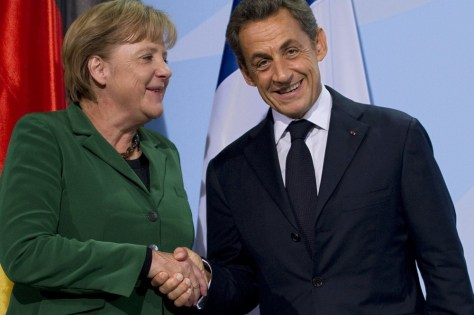 Image: German Chancellor Angela Merkel and French President Nicolas Sarkozy