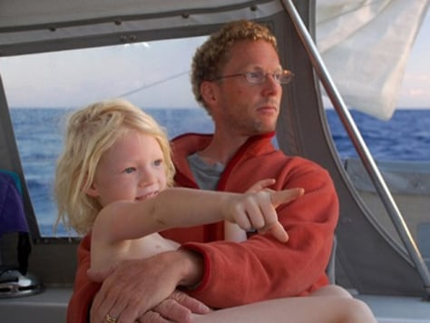 Image: Jamie Gifford with daughter on sailboat