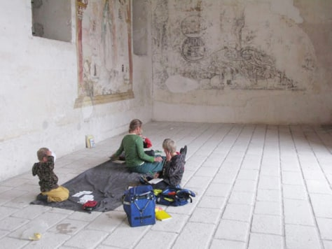Image: McFerrin family reading and studying in monastery in Mexico