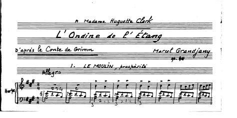 Image: Harp composition dedicated to Huguette Clark