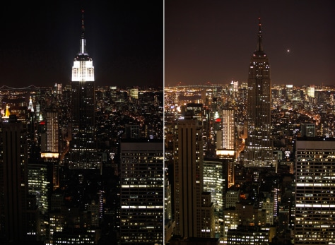 Image: The Empire State Building before and during Earth Hour