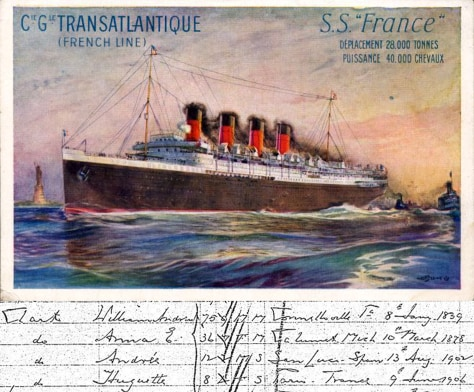 Postcard of ocean liner France, with ship's registry of names and dates