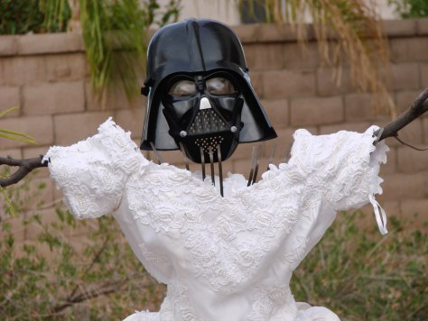 Image: Darth Vader scarecrow made with Kevin Cotter's ex-wife's wedding dress