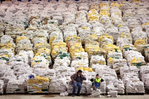 Image: Piles of sandbags inside Fargodome