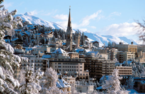 Panoramic winter view of the town of St. Moritz in Switzerland