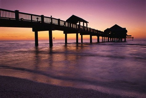 Image: Clearwater Beach pier at sunset