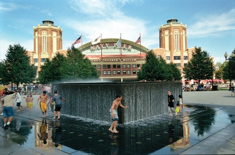 Image: Kids playing in fountain, Chicago, Illinois