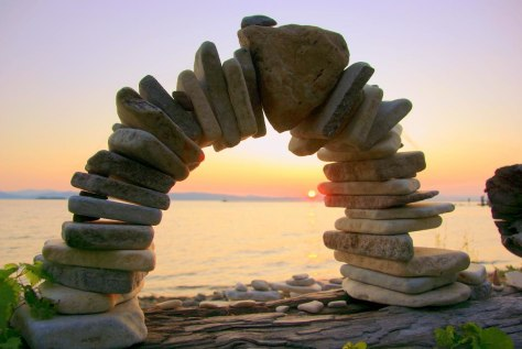 A rock-stacking art park along the shores of Lake Champlain in Burlington, Vermont.