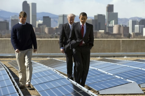 Image: Obama, Biden view solar panels atop Denver museum