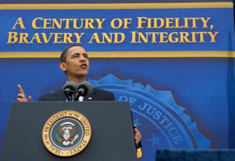 Image: Barack Obama at FBI headquarters