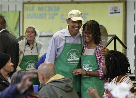 Image: President Obama, daughter Malia at soup kitchen