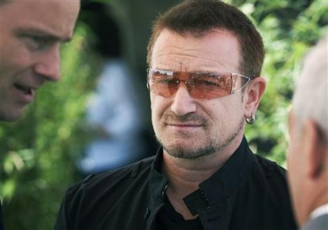 Rock star and anti poverty campaigner Bono
