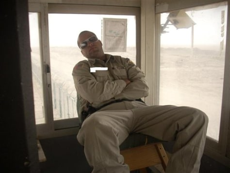 Image: Digitally altered photograph of military contractor asleep at his post in Kuwait