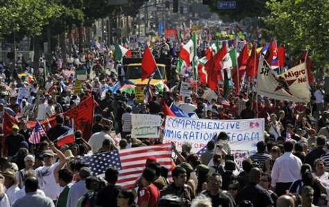 Image: Immigration protesters in Los Angeles