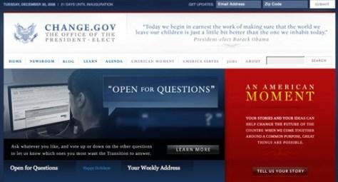 Image: Obama's Web site