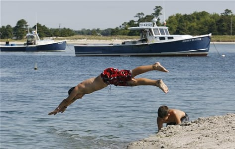 Image: Boys swim on Maine beach