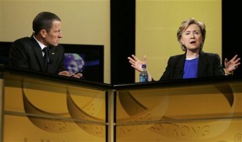 IMAGE: Lance Armstrong, Sen. Hillary Clinton