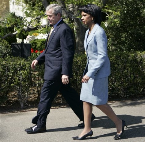 IMAGE: Condoleezza Rice and President Bush
