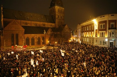 Image: Latvians gather for protest