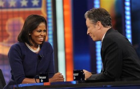 Image: Michelle Obama, Jon Stewart