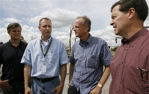 Steve Hewitt, second from left, Rep. Todd Tiahrt, left, Rep. Jerry Moran, second from right, and Sen. Sam Brownback.