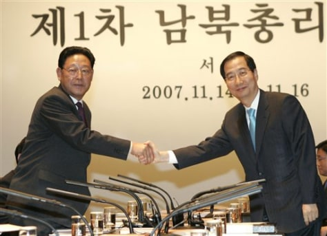 Image: North and South Korean premiers meet.