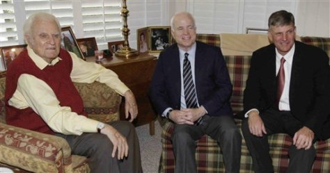 Image: John McCain with Billy Graham and son Franklin Graham