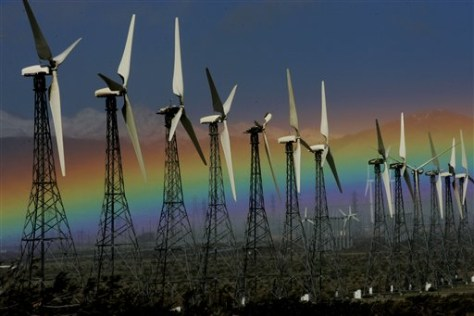 IMAGE: RAINBOW OVER WIND TURBINES