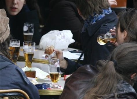 Image: French youths drinking beer