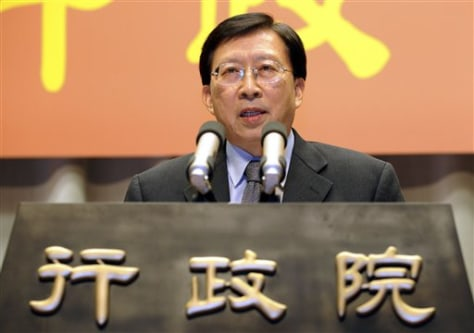 Image: Taiwan's Premier Liu Chao-shiuan announces his resignation