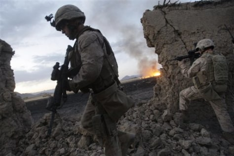 Image: U.S. Marines search for Taliban fighters