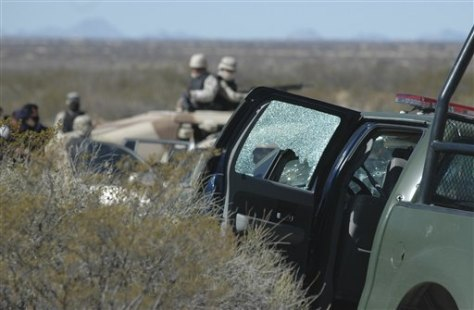 Image: Bullet-riddled Mexican army vehicle