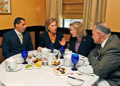Image: New York Gov. David Paterson, left, Secretary of State Hillary Clinton, New York Senator-designate Kirsten Gillibrand and New York Sen. Charles Schumer