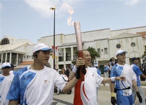 Image: Olympic torch in Macau.