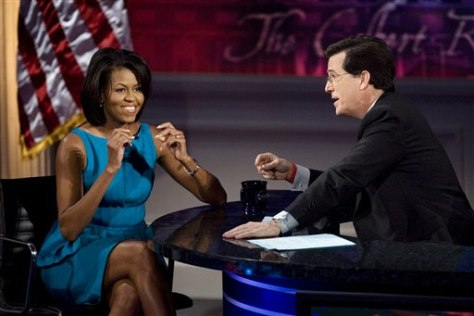 IMAGE: Michelle Obama and Stephen Colbert