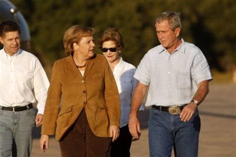 IMAGE: Bush, Merkel