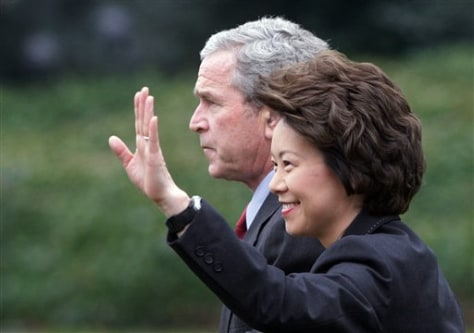 IMAGE: George W. Bush and Elaine Chao