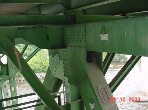 Image: Bent plates on bridge