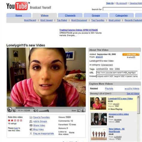 LONELYGIRL15 ADVERTISING