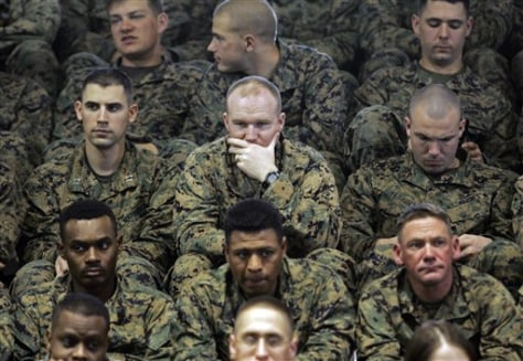 Image: Marines listening to Obama