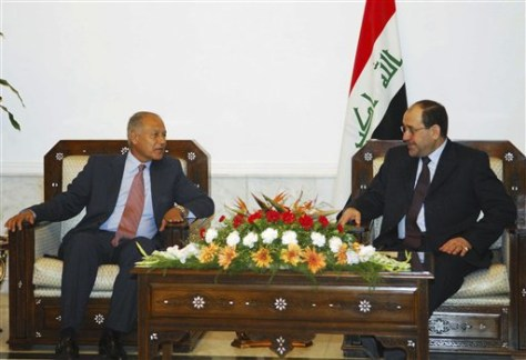 Image: Iraqi Prime Minister Nouri al-Maliki right and Egypt's foreign minister Ahmed Aboul Gheit