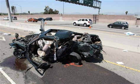 Image: Scene of fatal car crash in Pomona, Calif.