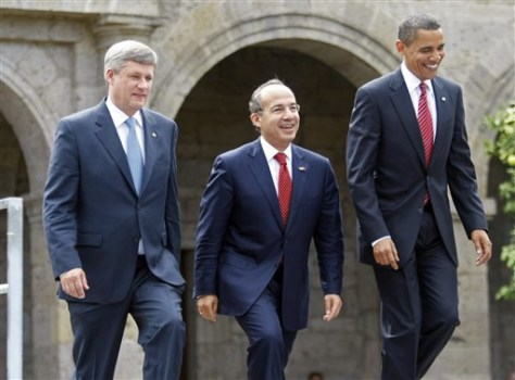 Image: Barack Obama, Felipe Calderon and Stephen Harper