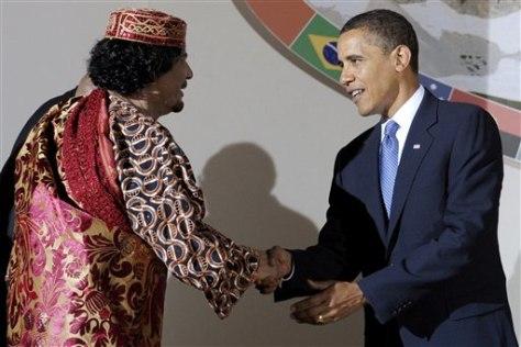 Image: Moammar Gadhafi and Barack Obama