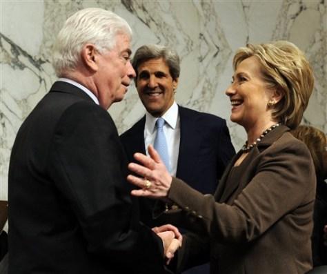 Image:Hillary Rodham Clinton, Sen. Christopher Dodd,Sen. John Kerry