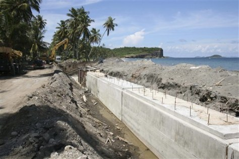 Image: Sea wall being built on eroded Grenada beach