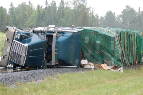 Image: Overturned bee truck